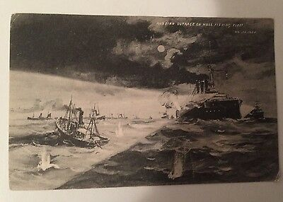 Very Rare Postcard: Hull (Yorkshire) Fishing Fleet Russian Outrage In 1904