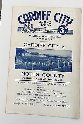 CARDIFF CITY v NOTTS COUNTY 1950-1 SEASON