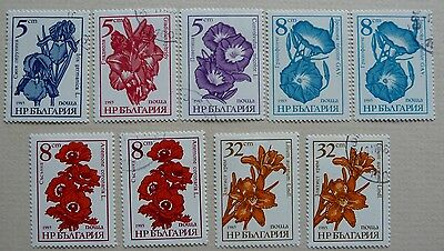 9 flower stamps of Bulgaria. Issued 1985. Used and MNH.
