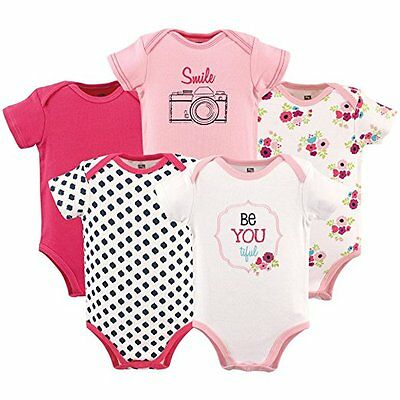 Hudson Baby - Baby Girls Pink 5 Pack Be Youtiful Bodysuits Multiple Designs