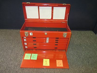 Kennedy Red Tool Box Kit Artillery Military Drawer Metal Chest Tray Lock Used