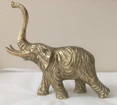 Vintage Solid Heavy Brass Trunk Up Lucky Elephant