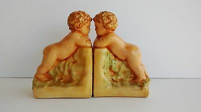 Pair Of Vintage Ceramic Cherub Bookends Antique Finish Padded Base Hand Crafted