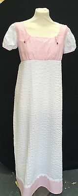 Regency Inspired Pink And White Cotton Gown. MAKE AN OFFER!