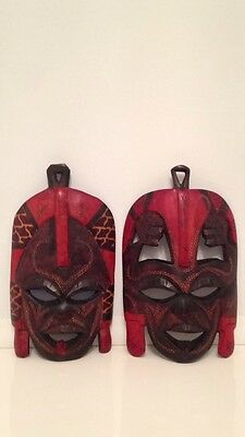 Hand Carved Painted Wooden Tribal Wall Masks Set Of 2