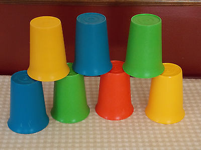 7 Tupperware Bell Tumblers Sippy Cups Primary Colors