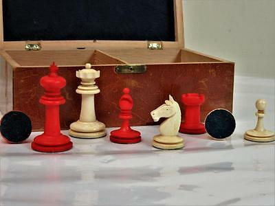 """ANTIQUE CHESS SET EARLY 20th  C. BY """"UHLIG""""BORSTENDORF""""GERMANY K 60 mm  +ORG BOX"""
