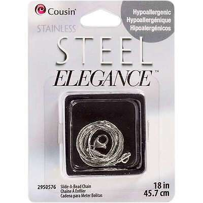 Stainless Steel Elegance Chains-Slide-A-Bead 18 Inch 016321121713