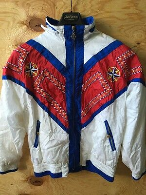 Vtg 80s Womens Windbreaker Track Jacket Sailer Harbor LAVON Red White Blue