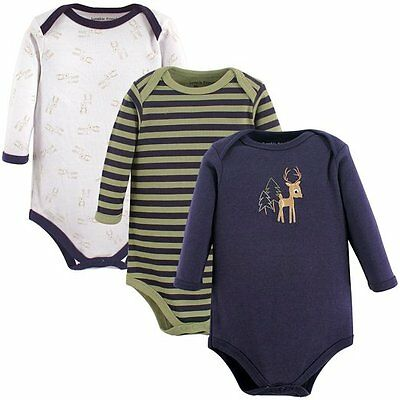 Luvable Friends - Baby Boys Navy 3 Pack Long Sleeve Boy Deer Vest