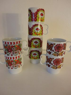 Set of 8 Vintage 1960s 1970s stackable floral coffee mugs - 3 different designs