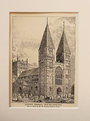 Southwell Cathedral, London,, - Antique B/W Print Engraving Lithograph