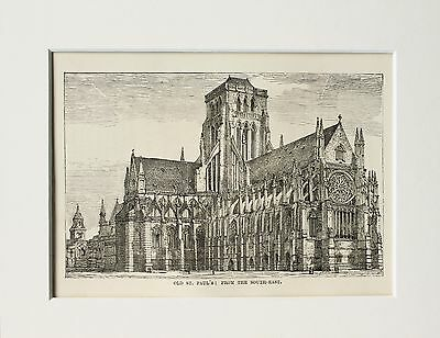 Old St Paul's Cathedral - Antique B/W Print Engraving Lithograph