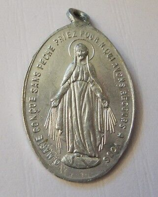 Vintage French Aluminium Miraculous Medal Virgin Mary
