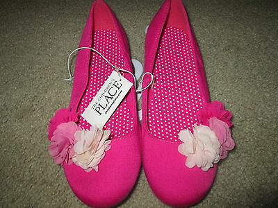 BN! Girls The CHILDREN'S PLACE Ballet Flats Shoes Size 4 Hot Pink, Flowers, New!