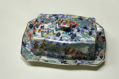 Royal Winton Grimwades Chintz Covered Butter Dish Blue Jade Pattern