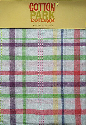 """Spring Pastel Plaid Striped Easter & Spring Fabric Tablecloth 60""""x 102"""" OBLONG"""