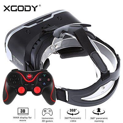 3D VR Shinecon Virtual Reality Headset Glasses with Joystick Remote Controller