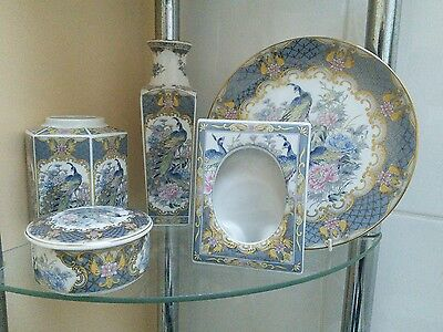 Blue Peacock China - Collection of 5 items