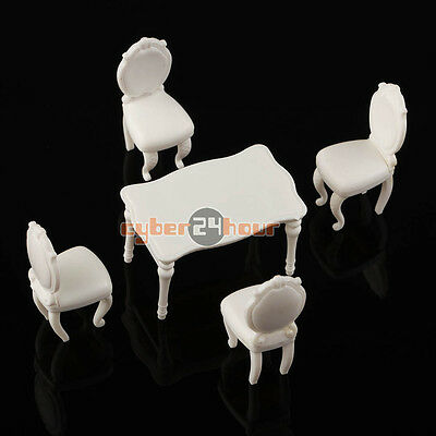 5pcs 1:25 Scenery Inner Model Dining Room Set Table with 4 Chairs