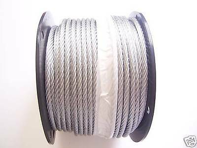 "Galvanized Wire Rope Cable 1/4"", 7x19: 50, 100, 125, 150, 200, 250, 300, 500 Ft"
