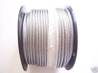 "Galvanized Wire Rope Cable 3/8"", 7x19: 50, 100, 150, 200, 250, 500  Ft"