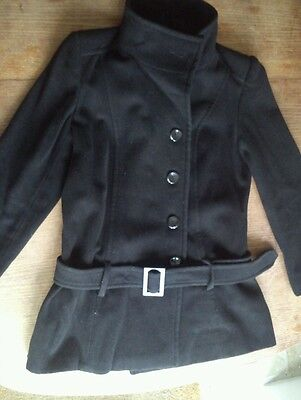 Ladies Black Buttoned Jacket by SOUTH - Size 12 - Hip Length