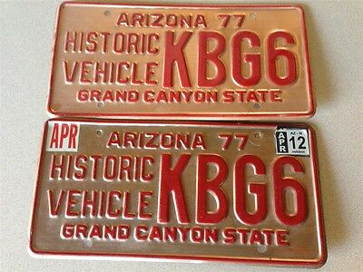 Arizona Solid Copper Historic Vehicle 77 License Plate Pair Lot Set KBG6