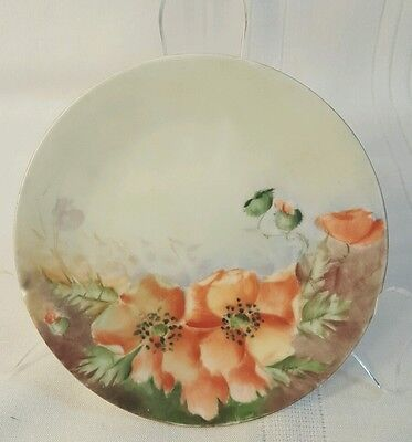 """Vintage Bavaria Czech 6 """" Poppies Plate hand painted 725"""