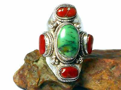 TURQUOISE  /  CORAL   Silver  Gemstone  RING  -  Size  X  -  Gift  Boxed!