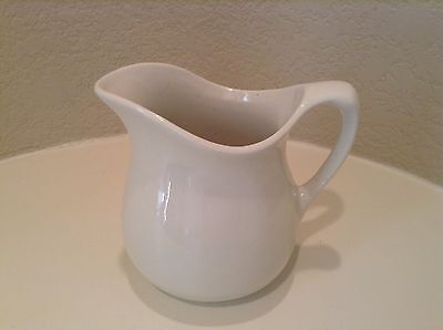 Small Ironstone Pitcher Off White Vintage