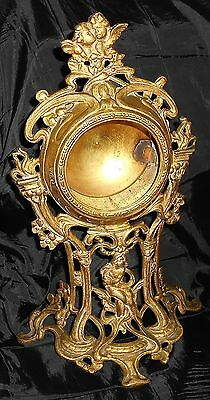 Large Vintage Gilt Brass Mantel Clock Case