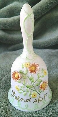 VINTAGE Japan Friendship Porcelain Bell with Applied Flowers