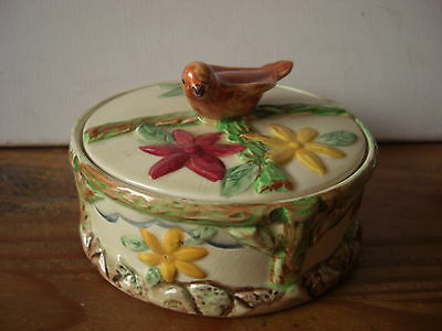 WADE HEATH Deco Trinket Preserve Bowl Bird Flowers hidden chip inner lower rim