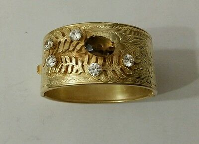Antique Vintage Ct Gilt Gold Embossed Bangle,cuff Bracelet With Paste Stones Wow