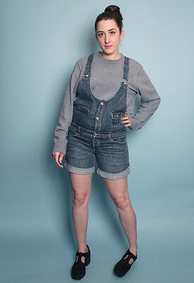 Vintage 90s Denim Dungaree Shorts  8 blue pockets turn up cuff grunge