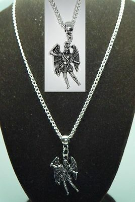 "24"" Inch Fine Necklace & Archangel Michael Pendant Saint Miguel Taxiarch Angel"
