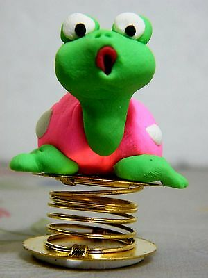 Wobble Pink Turtle Bobble Spring Car Dashboard Polymer Clay Sculpted Novelty