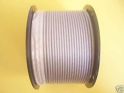 Vinyl Coated Wire Rope Cable 1/8 - 3/16, 7x7: 50,100, 250, 500, 1000  Ft