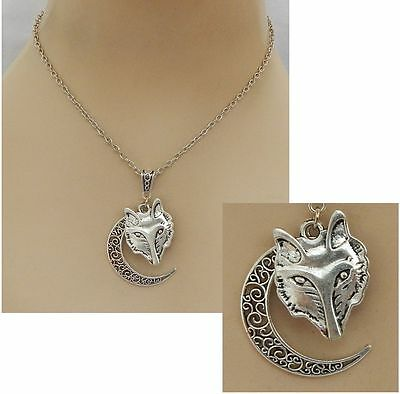 Silver Wolf Moon Pendant Necklace Jewelry Handmade NEW Adjustable Chain Fashion