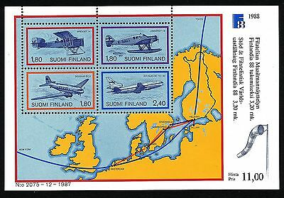 Finland 1988 S/S Finlandia stamp expo; aeroplanes, map. MNH