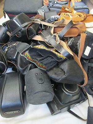 Job Lot Various Mainly Vintage Camera & Lens Cases Leather / Plastic