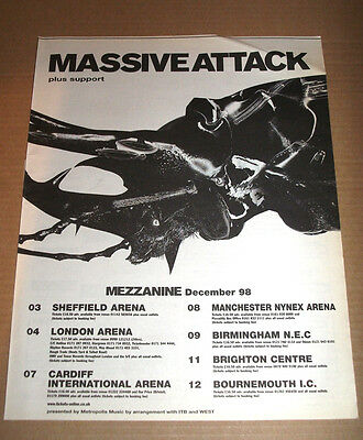 MASSIVE ATTACK - MEZZANINE UK TOUR DATES - 1998 vintage ADVERT POSTER ORIGINAL
