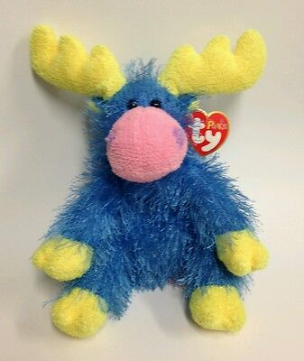 "Ty Punkies Marbles Multi Colored Moose Plush Stuffed Animal 8"" 2003"