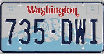 Authentic Washington State License Plate # 735 Dwi   Error Pulled Series