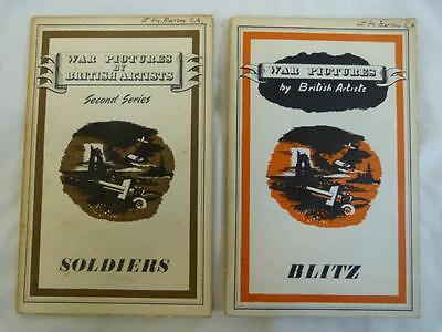 2 WWII Books War Pictures by British Artists Soldiers 1943 & Blitz 1942
