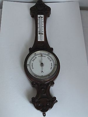 Antique American Walnut Wood Carved Aneroid Barometer & Thermometer   c1870's