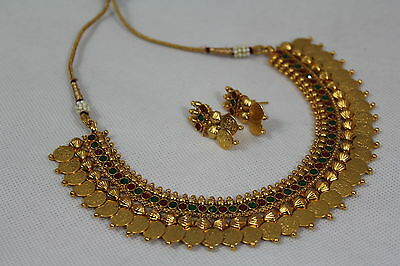 Indian Bollywood Temple Design Laxmi Goddess Coin Pearl Jewellery Set