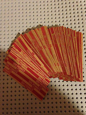 Coin Wrappers Tubes 150 New One Cent Penny's Pop-Open Flat Paper MADE IN AMERICA