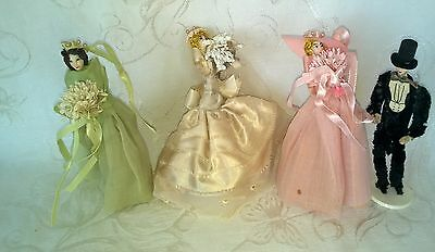 Vintage Pipe Cleaner Crepe Paper Bridal Party Dolls Cake Toppers $67.99